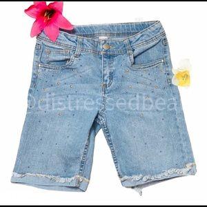 TOTAL GIRL | GUC | Denim Studded Bermuda Shorts